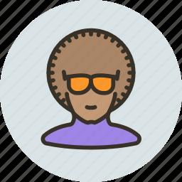 afro, avatar, dancer, disco, glasses, human icon
