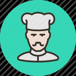 avatar, cook, human, mustache icon