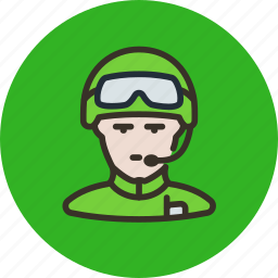avatar, glasses, helmet, human, radio, soldier icon