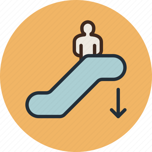 down, escalator, moving, staircase icon