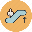 escalator, moving, staircase, up icon