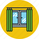 apartment, curtains, interior, view, window icon