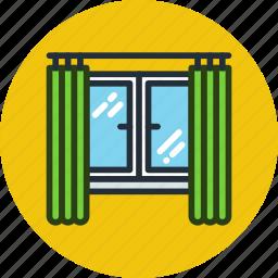 apartment, curtains, interior, view, window icon