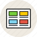 grid, images, layout, posts, thumbnails, wireframe icon