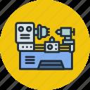factory, lathe, machine, mechanics, production, work icon