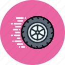 auto, fast, mechanics, movement, physics, wheel icon