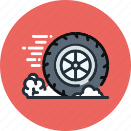 auto, brake, friction, mechanics, movement, physics, wheel icon