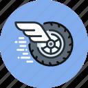 mechanics, wheel, auto, fast, physics, wing, movement icon