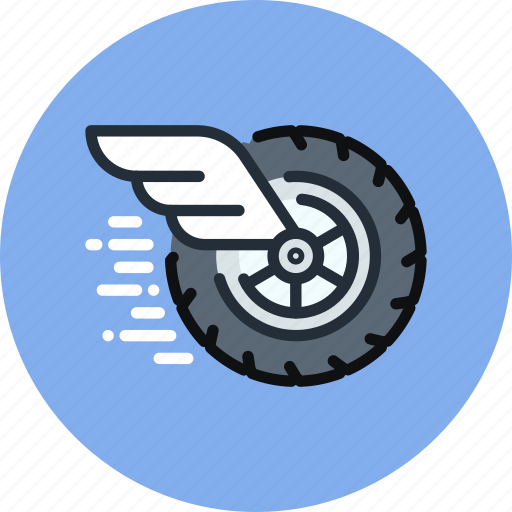 auto, fast, mechanics, movement, physics, wheel, wing icon