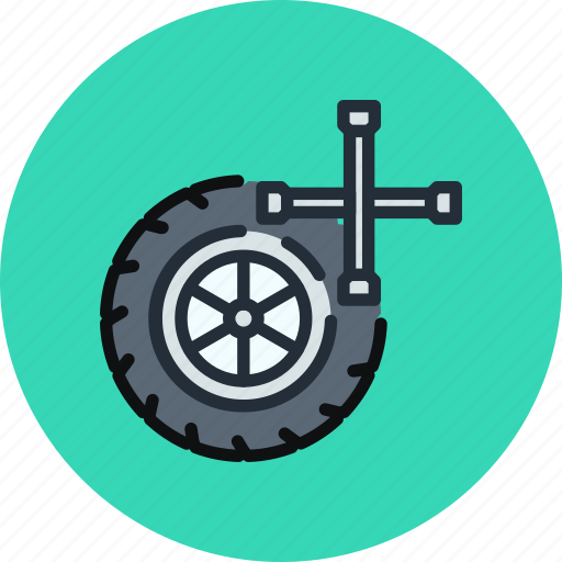 car, maintenance, service, tires, wheel icon
