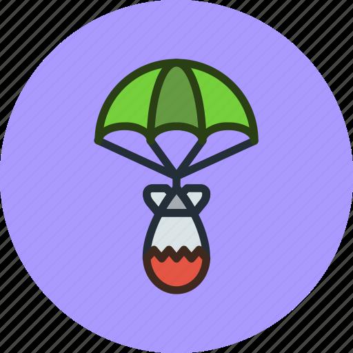 air, atomic, bomb, military, nuclear, parachute, war icon