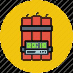 bomb, dynamite, military, timer, war icon