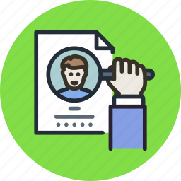 employee, find, hire, recruit, resume, search icon