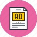 ad, advertise, advertisement, article, post, text icon