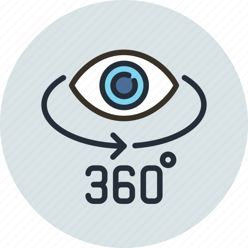 degrees, panorama, photo, rotate, view icon