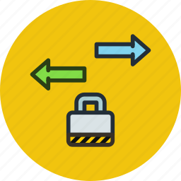 data, export, import, locked, password, secure, traffic icon