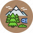 ecology, lake, mountains, nature, trees icon