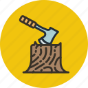axe, camping, chopping, log, outdoor, wood icon