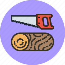 hand, log, saw, wood icon