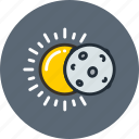 eclipse, lunar, moon, science, solar, space, sun icon
