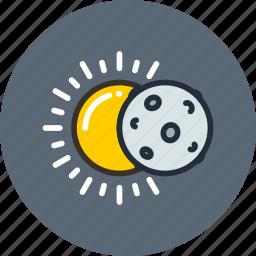 eclipse, lunar, moon, science, solar, space, sun icon