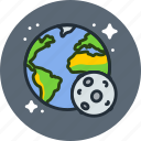 earth, globe, moon, planet, science, solar, space, system, world icon