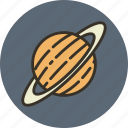 cosmos, planet, saturn, science, solar, space, system icon