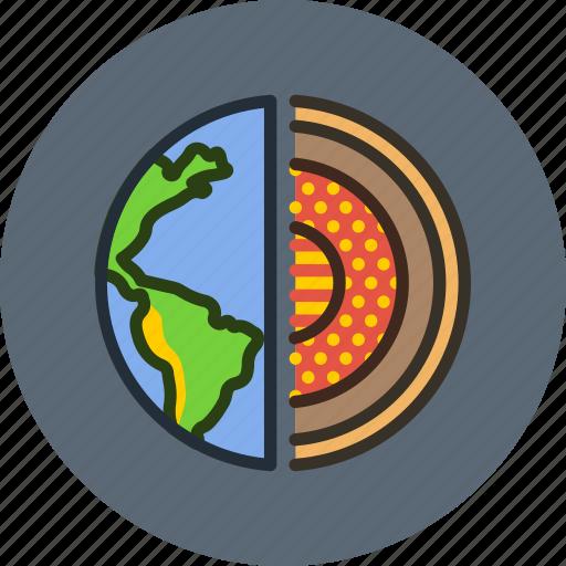 core, earth, planet, science icon