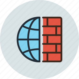 connection, firewall, internet, network, protected, secure, web icon