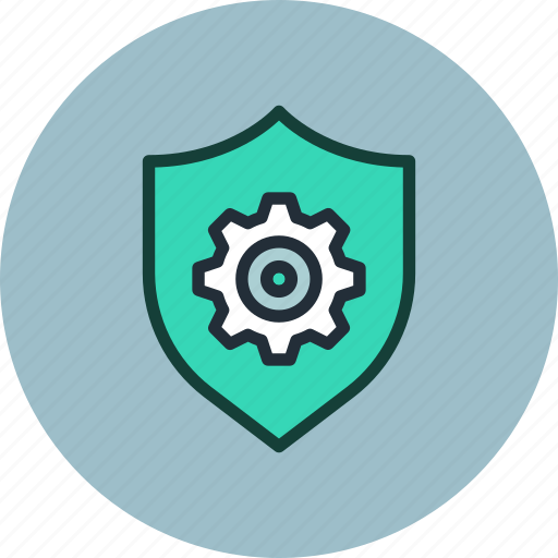 Security, protection, shield, settings, gear icon