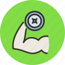 fitness, gym, hand, sport, weight icon