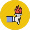 castle, fire, flambeau, games, light, olympic, torch icon