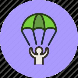landing, parachute, sport icon