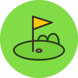 course, field, flag, golf, grasspot, lawn icon
