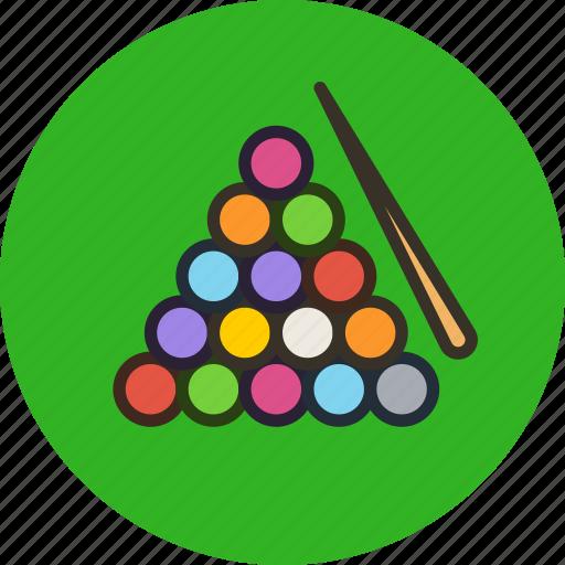 balls, billiard, billiards, competition, cue, game, sport icon
