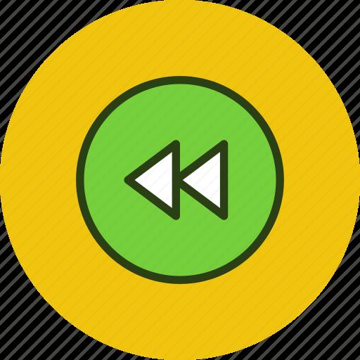 backward, circle, player, prev, previous, rewind icon