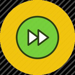 circle, foward, next, player, rewind icon