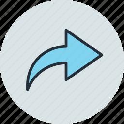arrow, next, redo, rise icon
