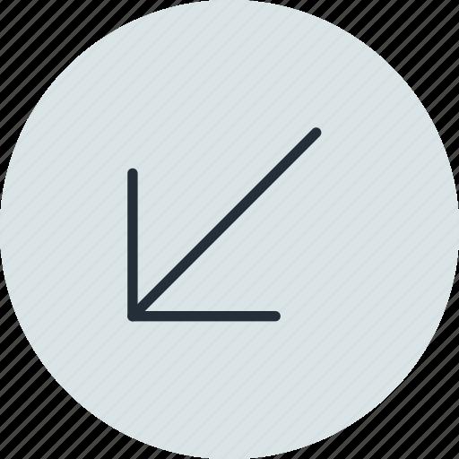 arrow, diagonal, down, left, south, west icon