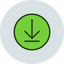 arrow, circle, download, sign icon