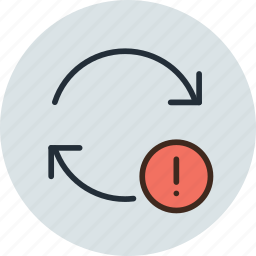 arrow, attention, crash, problem, refresh, sign, update icon