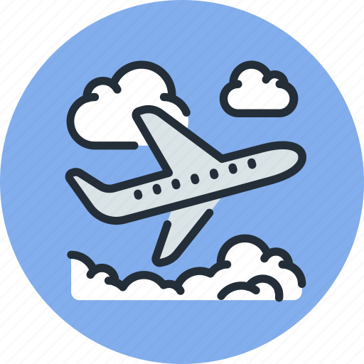 clouds, flight, plane, sky, takeoff icon