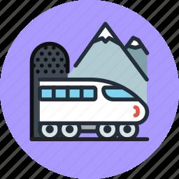 train, transport, tunnel icon