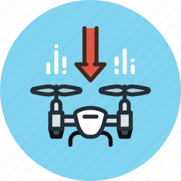 airdrone, copter, down, drone, flying, lower, quadcopter icon