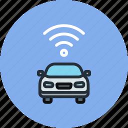 car, signal, transport, wifi icon