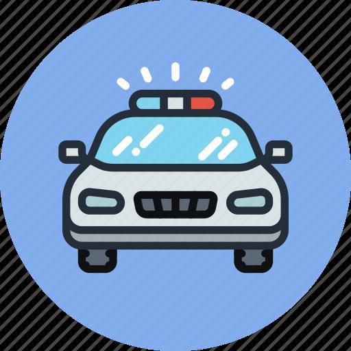 car, emergency, flashing, police, transport icon