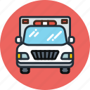 ambulance, car, emergency, flashing, transport icon