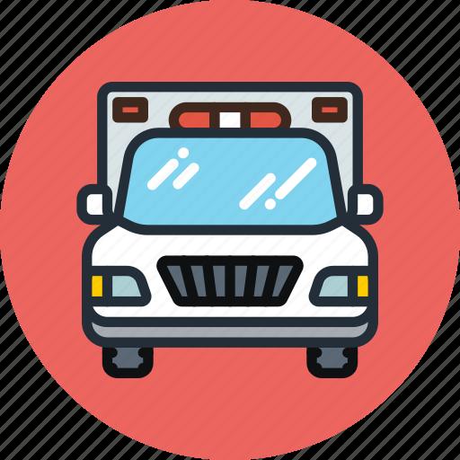 ambulance, car, emergency, flashing, transport icon