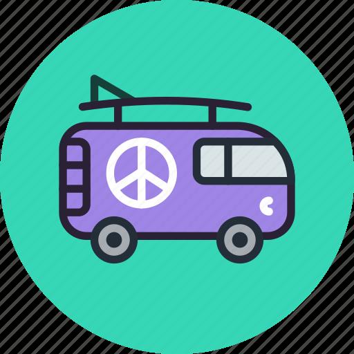 car, combi, hippy, vacation, van icon