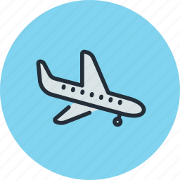 airliner, landing, plane, sky, transport icon